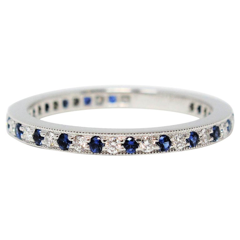 Tiffany & Co. Legacy Collection Sapphire/ Diamond Eternity Band Ring in Platinum For Sale