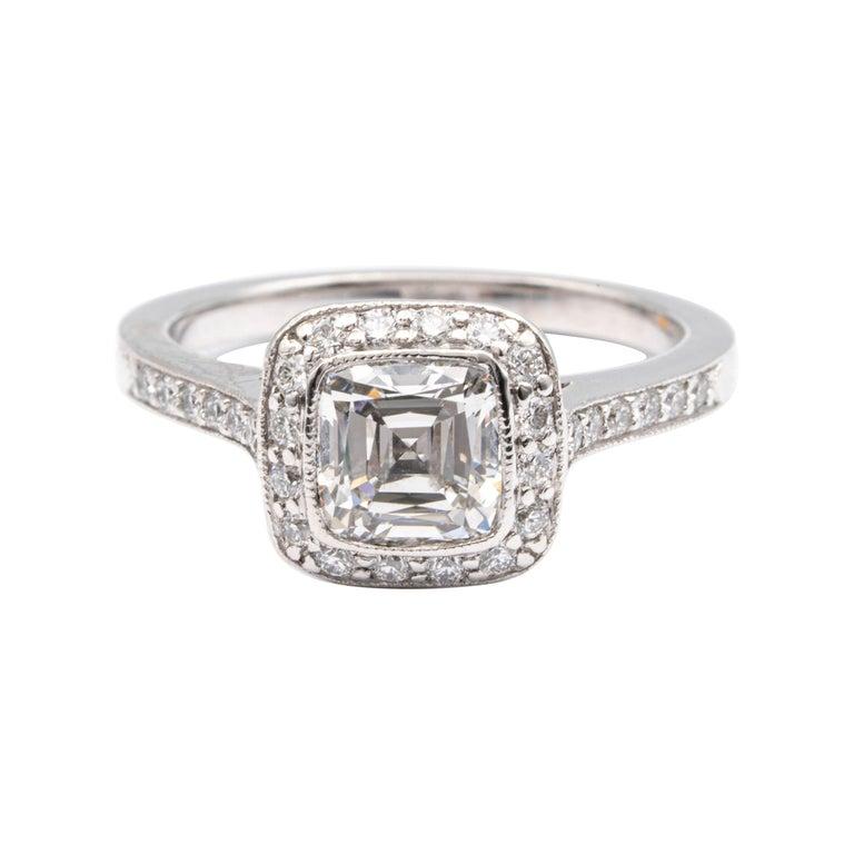Tiffany & Co. Legacy Cushion Diamond Engagement Ring 1.54 Ct Total G VS2 Ex Cut For Sale