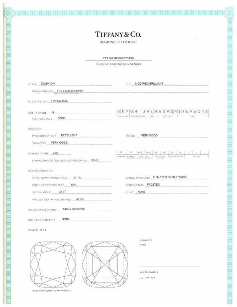 Tiffany & Co. Legacy Cushion Diamond Engagement Ring 1.54 Ct Total G VS2 Ex Cut For Sale 4