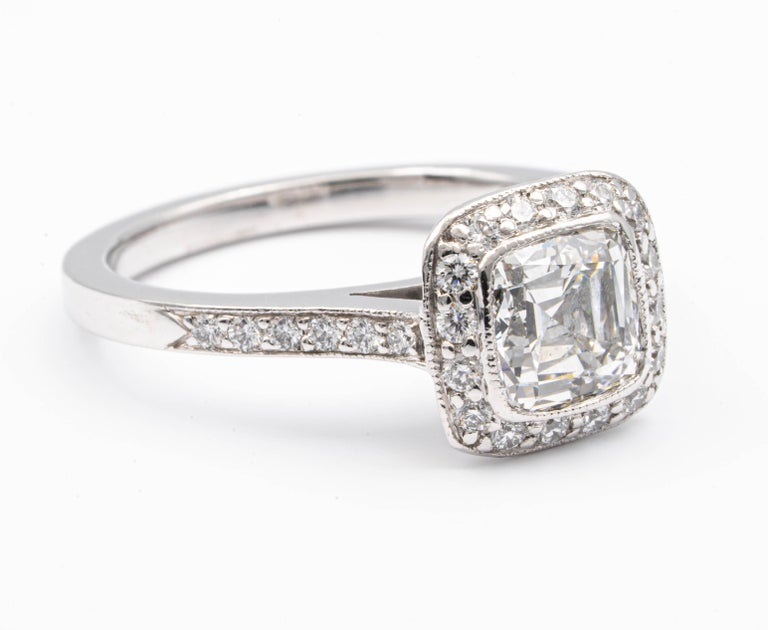 Modernist Tiffany & Co. Legacy Cushion Diamond Engagement Ring 1.54 Ct Total G VS2 Ex Cut For Sale
