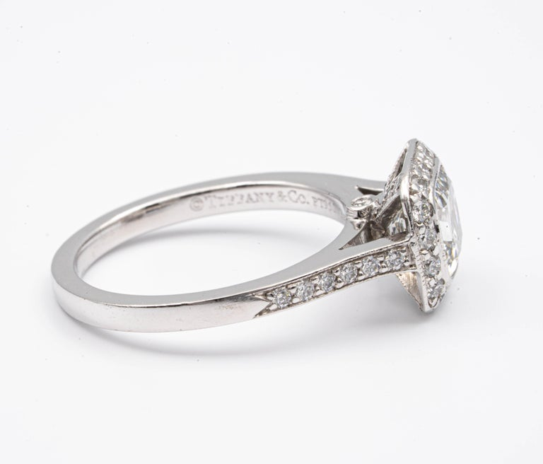 Cushion Cut Tiffany & Co. Legacy Cushion Diamond Engagement Ring 1.54 Ct Total G VS2 Ex Cut For Sale