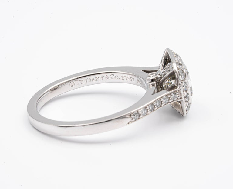 Tiffany & Co. Legacy Cushion Diamond Engagement Ring 1.54 Ct Total G VS2 Ex Cut In Excellent Condition For Sale In New York, NY