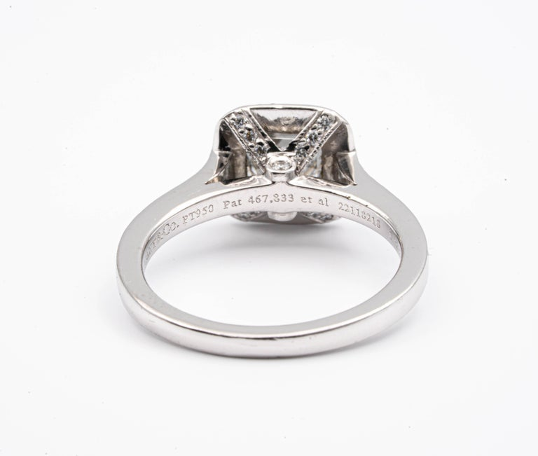 Women's Tiffany & Co. Legacy Cushion Diamond Engagement Ring 1.54 Ct Total G VS2 Ex Cut For Sale