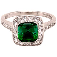 Tiffany & Co Legacy Diamond and Green Tourmaline 2.15 Carat Platinum Ring