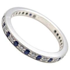 Tiffany & Co. Legacy Diamond Sapphire Eternity Platinum Band Ring