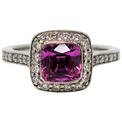 Tiffany & Co. Legacy Pink Sapphire and Diamond Halo Engagement Ring in Platinum