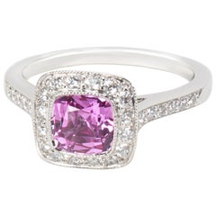 Tiffany & Co. Legacy Pink Sapphire and Diamond Ring in Platinum