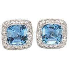 Tiffany & Co. 'Legacy' Platinum Aquamarine and Diamond Earrings