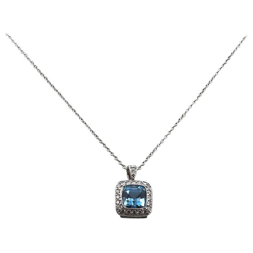 Tiffany & Co. Legacy Platinum Aquamarine and Diamond Pendant Necklace