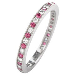 Tiffany & Co. Legacy Platinum Diamond and Pink Sapphire Band Retail $3100