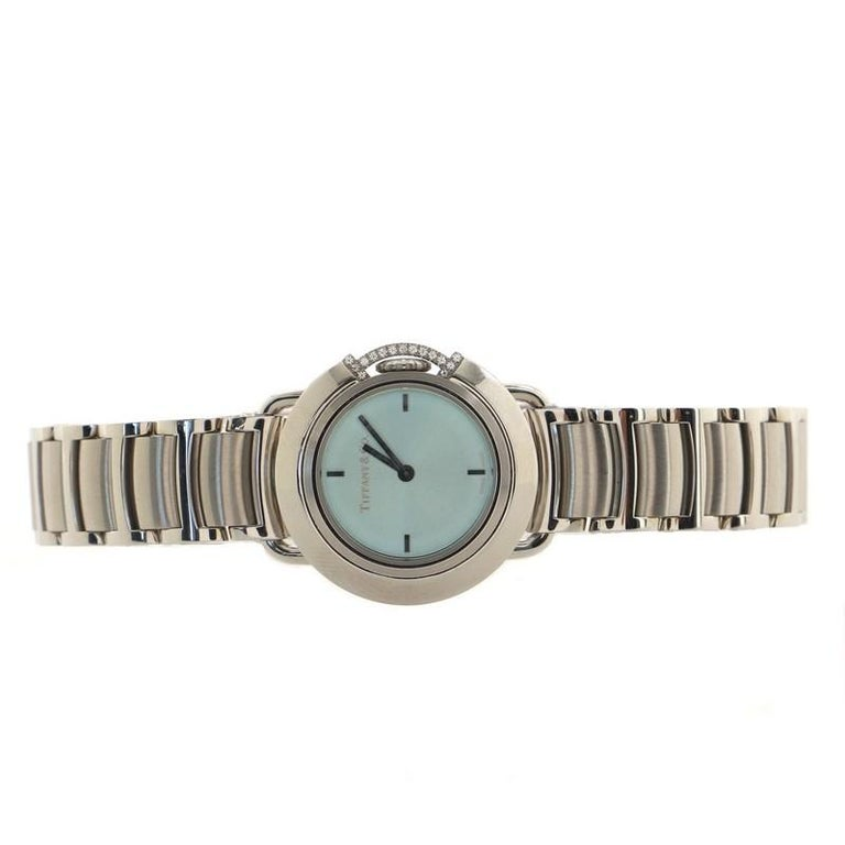 Tiffany & Co. Limited Edition T Round Quartz Watch Stainless Steel with Diamond  In Good Condition For Sale In New York, NY