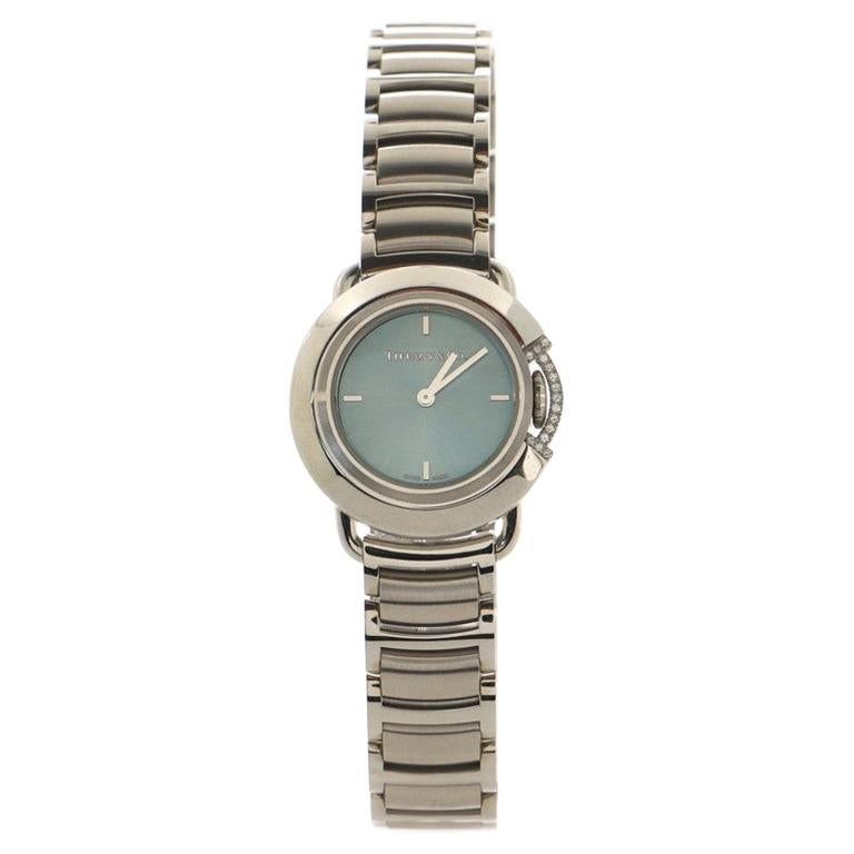 Tiffany & Co. Limited Edition T Round Quartz Watch Stainless Steel with Diamond  For Sale