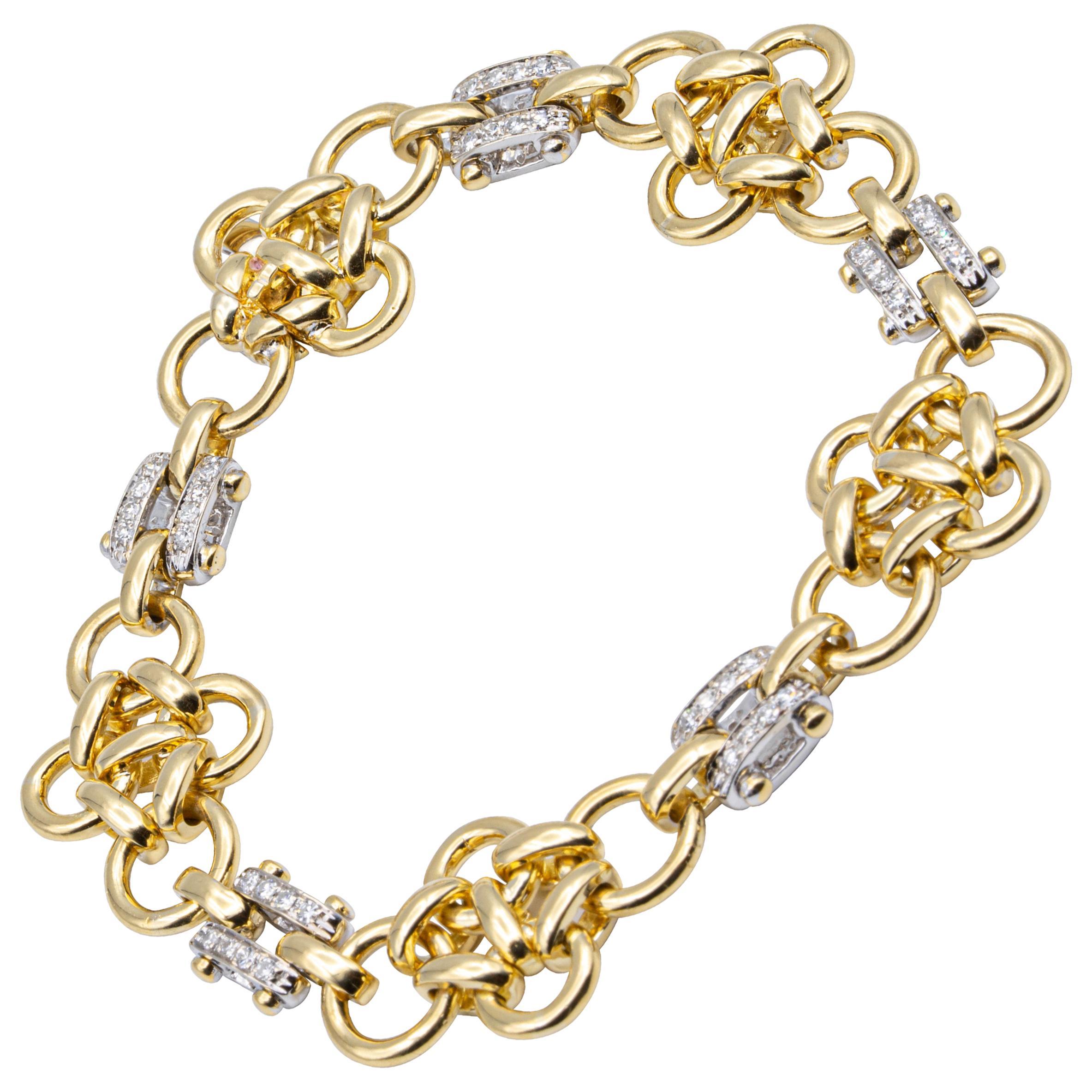 Tiffany & Co. Italy 18K Yellow Gold Heavyweight Link + Diamond Bracelet Orig Box