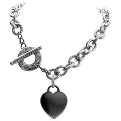 359524c3411b1 Tiffany and Co. Heart Charm Sterling Silver Choker Necklace at 1stdibs