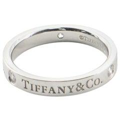 Tiffany & Co. Logo Band Ring Platinum and Diamonds 4.5 - 48