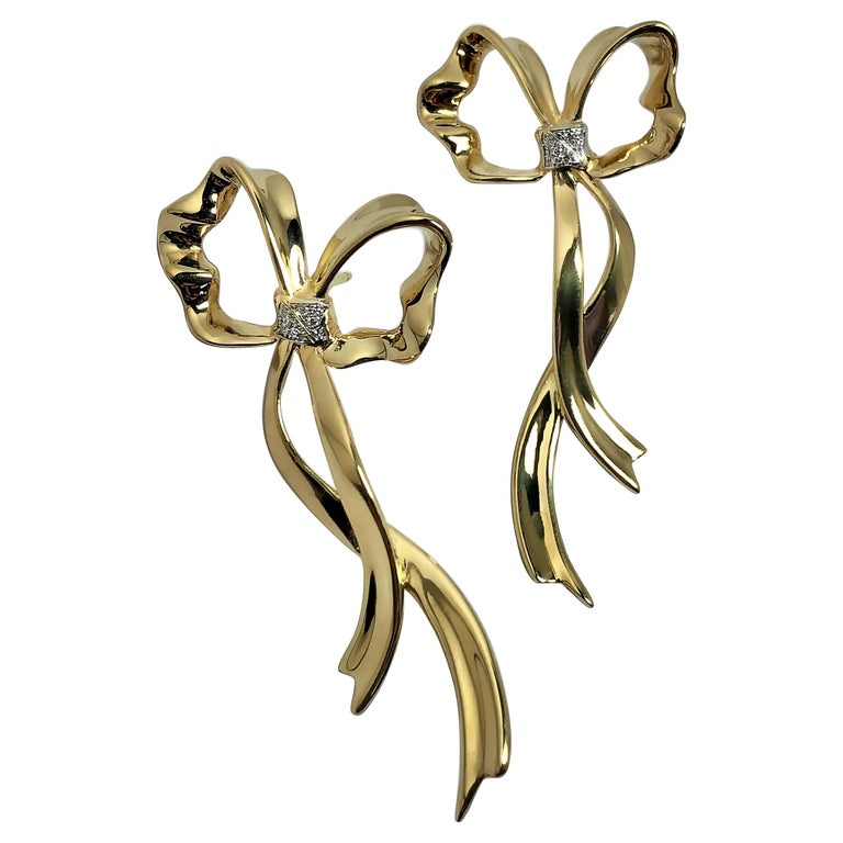 Tiffany & Co. Long Flowing Gold Ribbon Earrings with Diamonds For Sale