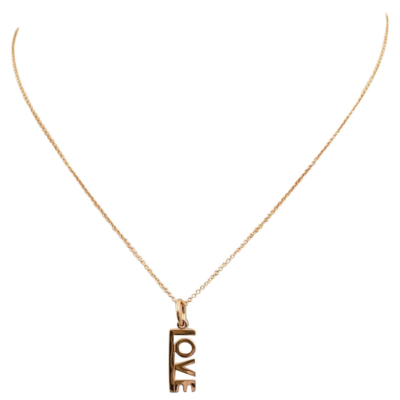 Tiffany & Co. 'LOVE' Rose Gold Pendant Necklace