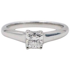 Tiffany & Co. Lucida 0.46 ct E VVS1 Diamond Platinum Engagement Ring Box & Cert