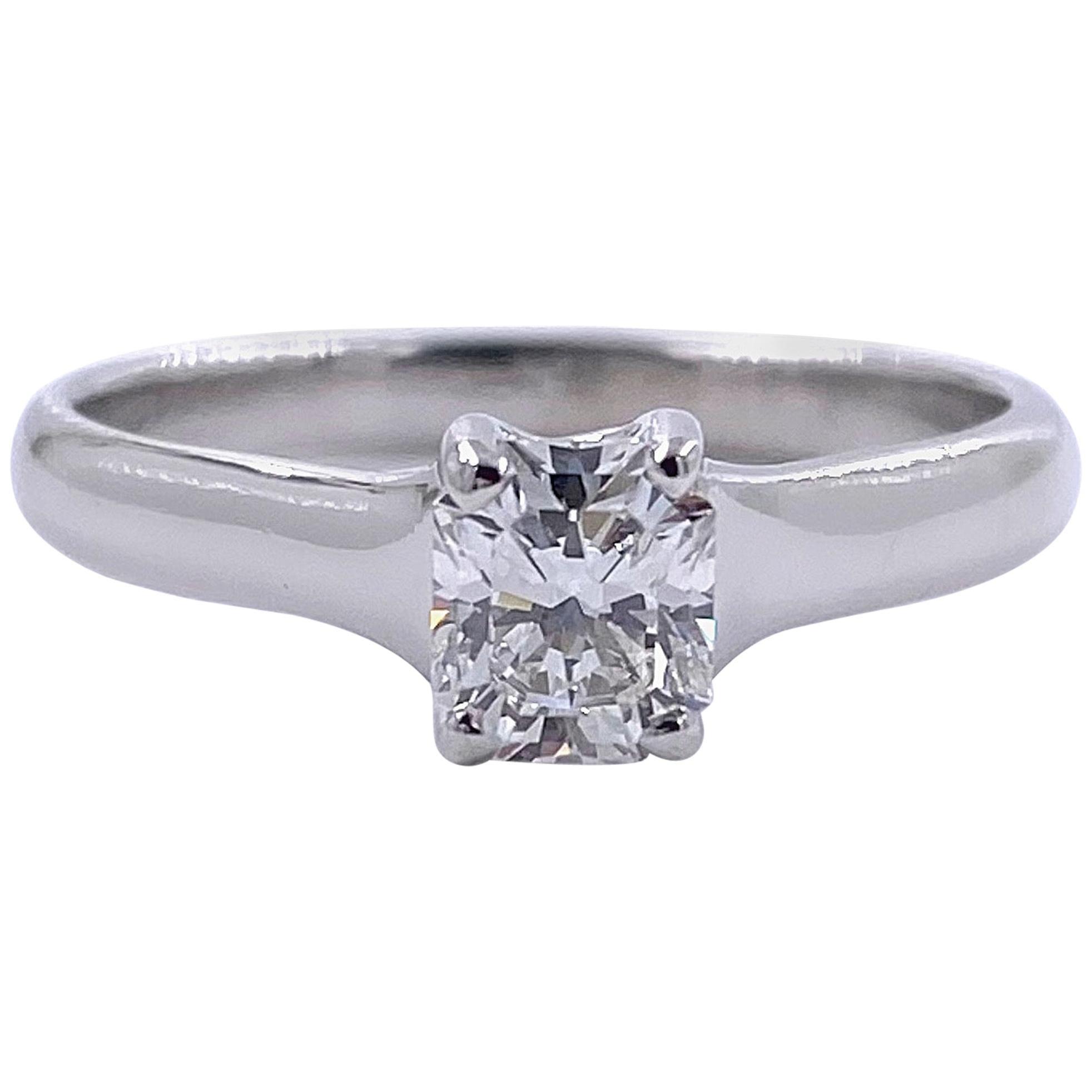 Tiffany & Co. Lucida 0.58 Carat F VS1 Solitaire Platinum Engagement Ring GIA