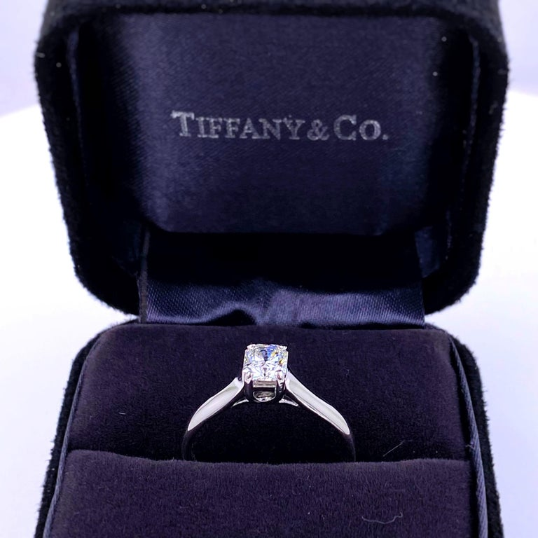 Tiffany & Co. Lucida 0.58 Carat F VS1 Solitaire Platinum Engagement Ring GIA In Excellent Condition For Sale In San Diego, CA