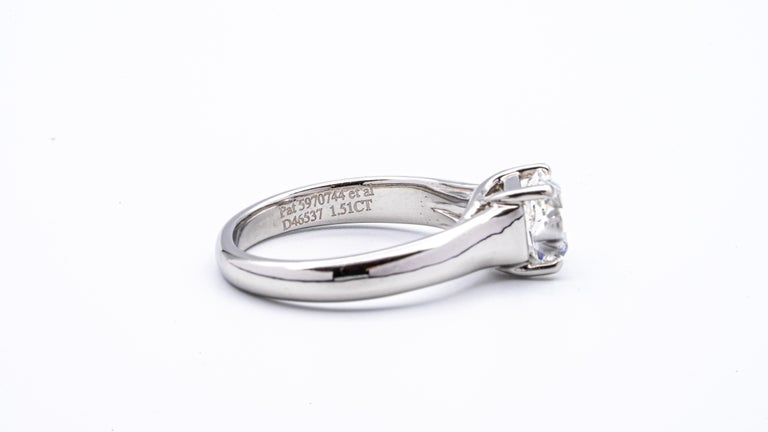 Tiffany & Co. Lucida 1.51 Carat E VS2 Engagement Ring in Platinum In Excellent Condition For Sale In New York, NY