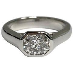 Tiffany & Co. Lucida Cut 1.04 Carat E VVS2 Bezel Set Platinum Ring