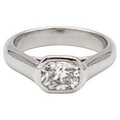 Tiffany & Co. Lucida Cut 1.04 Carat E VVS2 Bezel Set Platinum Ring