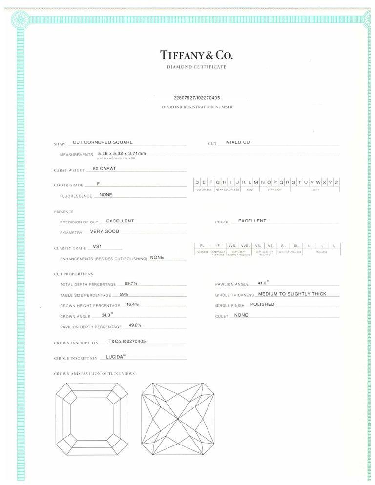 Tiffany & Co. Lucida Cut .80 Carat F VS1 '$9,100' Engagement Ring For Sale 2