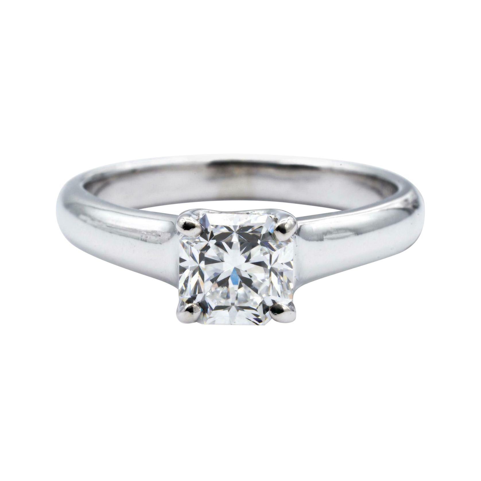 Tiffany & Co. Lucida Diamond Engagement Ring .90 Ct E VS1 Platinum Excellent Cut
