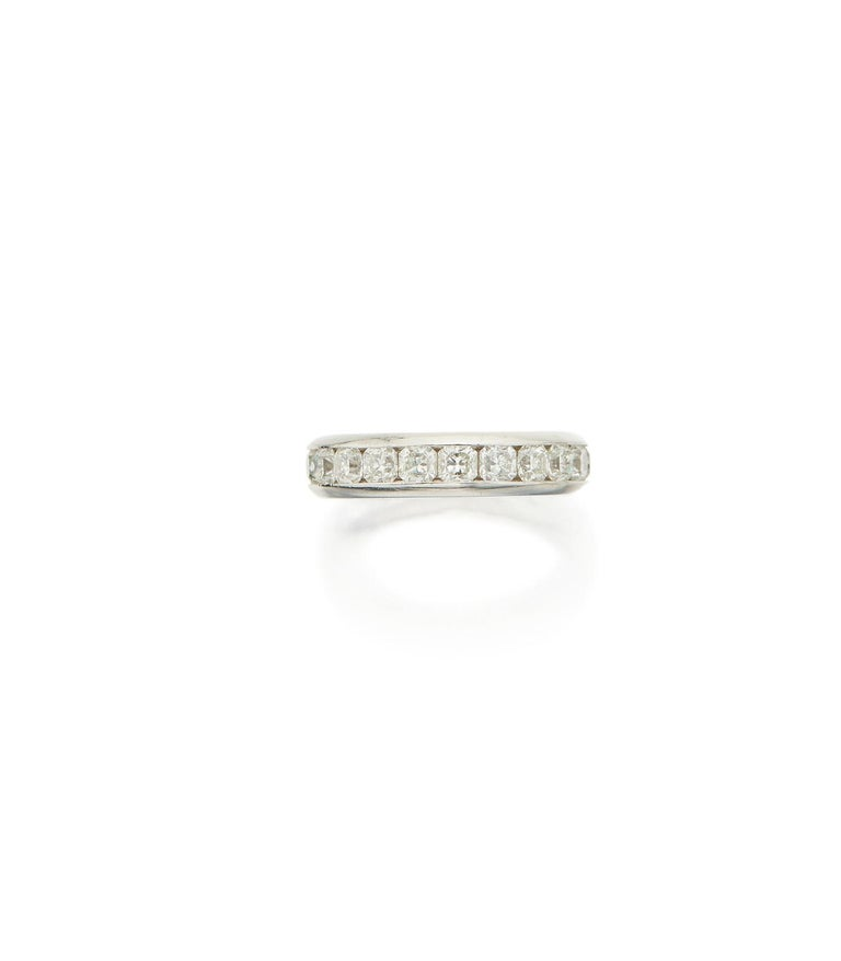 Desirable platinum and diamond band ring from the