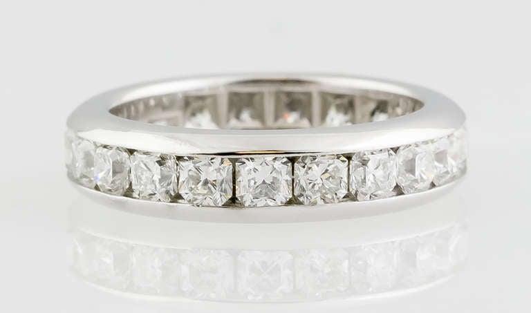 Contemporary Tiffany & Co. Lucida Diamond Platinum Band For Sale