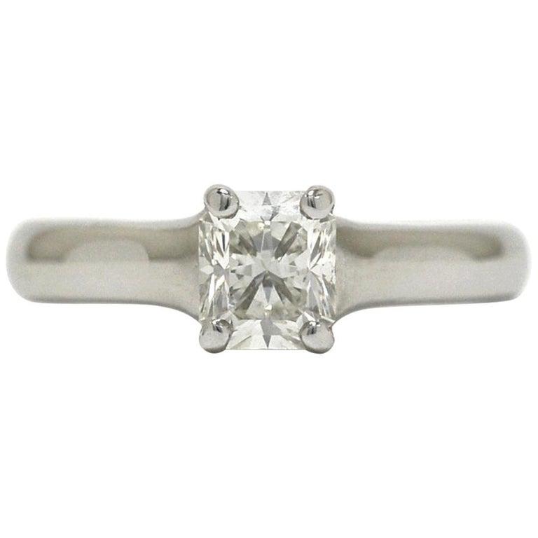 b197bbd59 Tiffany & Co. Lucida Diamond Solitaire Platinum Ring Radiant Cut 0.66 Carat  For Sale