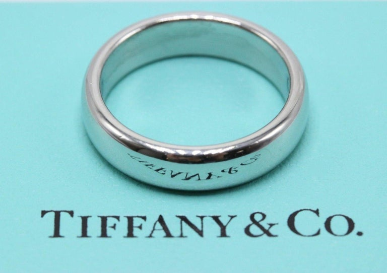 07a72737c Tiffany & Co. Lucida Platinum Wedding Band Ring 4.5 MM In Excellent  Condition For Sale