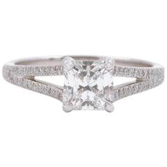 Tiffany & Co. Lucida Square Diamond Split Shank Ring 1.04 Carat Platinum