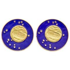 Tiffany & Co. Lunar Landing Enamel and Yellow Gold Earclips