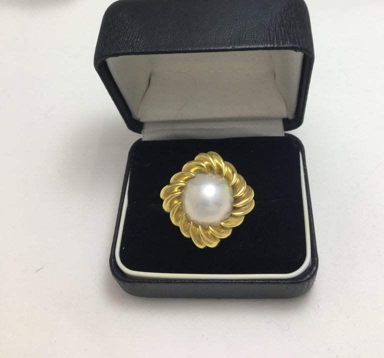 Cushion Cut Tiffany & Co. Mabe Pearl 18KY Cocktail Ring For Sale