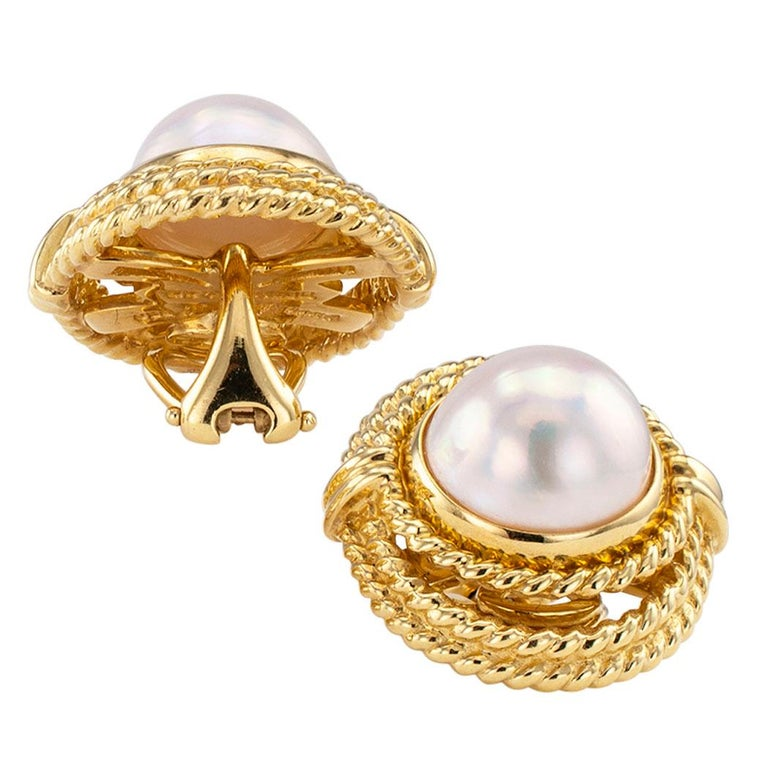 Contemporary Tiffany & Co. Mabe Pearl Gold Earrings For Sale