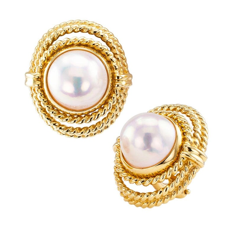 Tiffany & Co. Mabe Pearl Gold Earrings In Good Condition For Sale In Los Angeles, CA