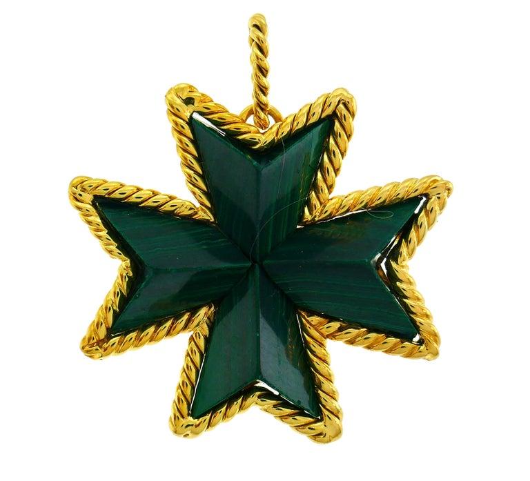 Tiffany & Co. Malachite Yellow Gold Pin Pendant Maltese Cross Brooch Clip For Sale