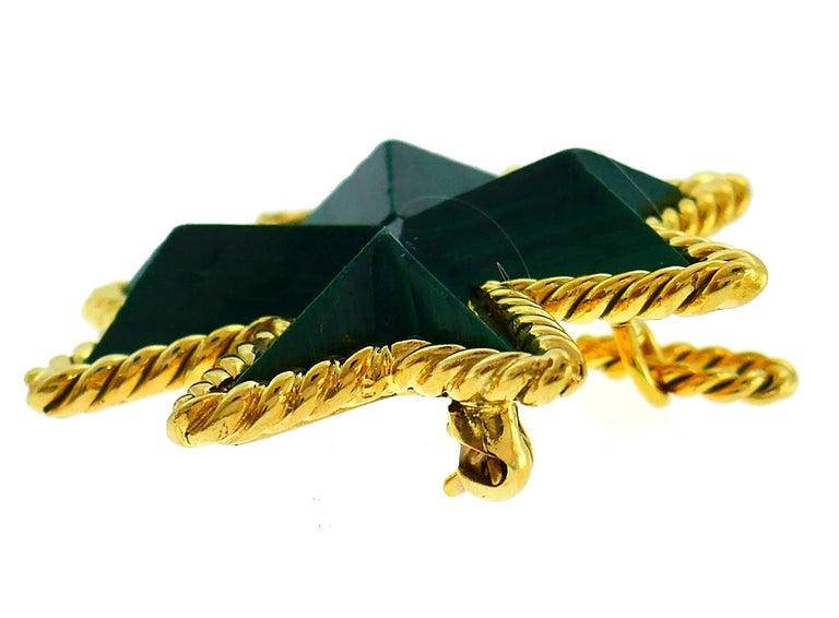 Uncut Tiffany & Co. Malachite Yellow Gold Pin Pendant Maltese Cross Brooch Clip For Sale