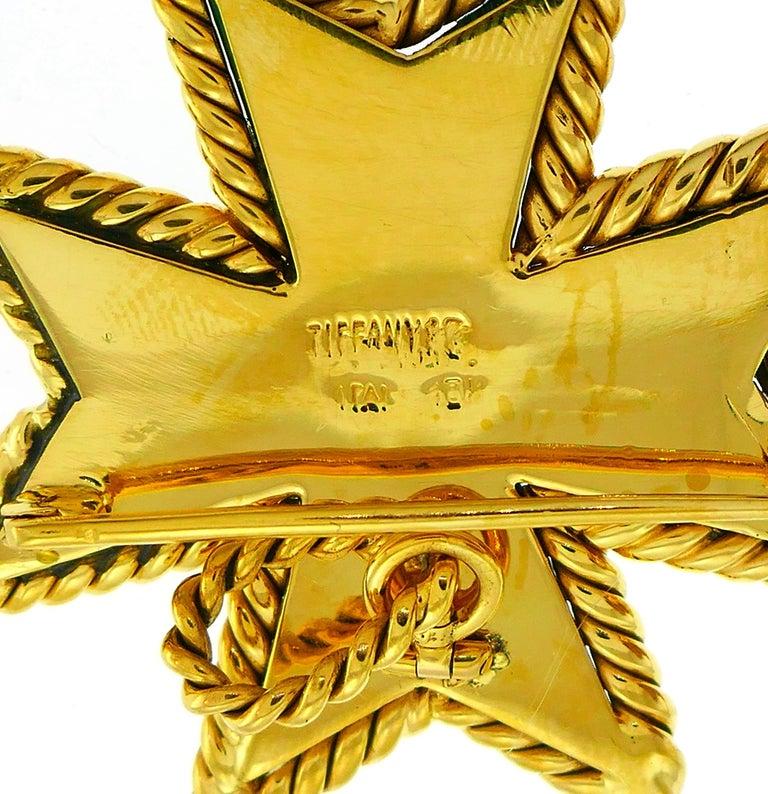Women's or Men's Tiffany & Co. Malachite Yellow Gold Pin Pendant Maltese Cross Brooch Clip For Sale