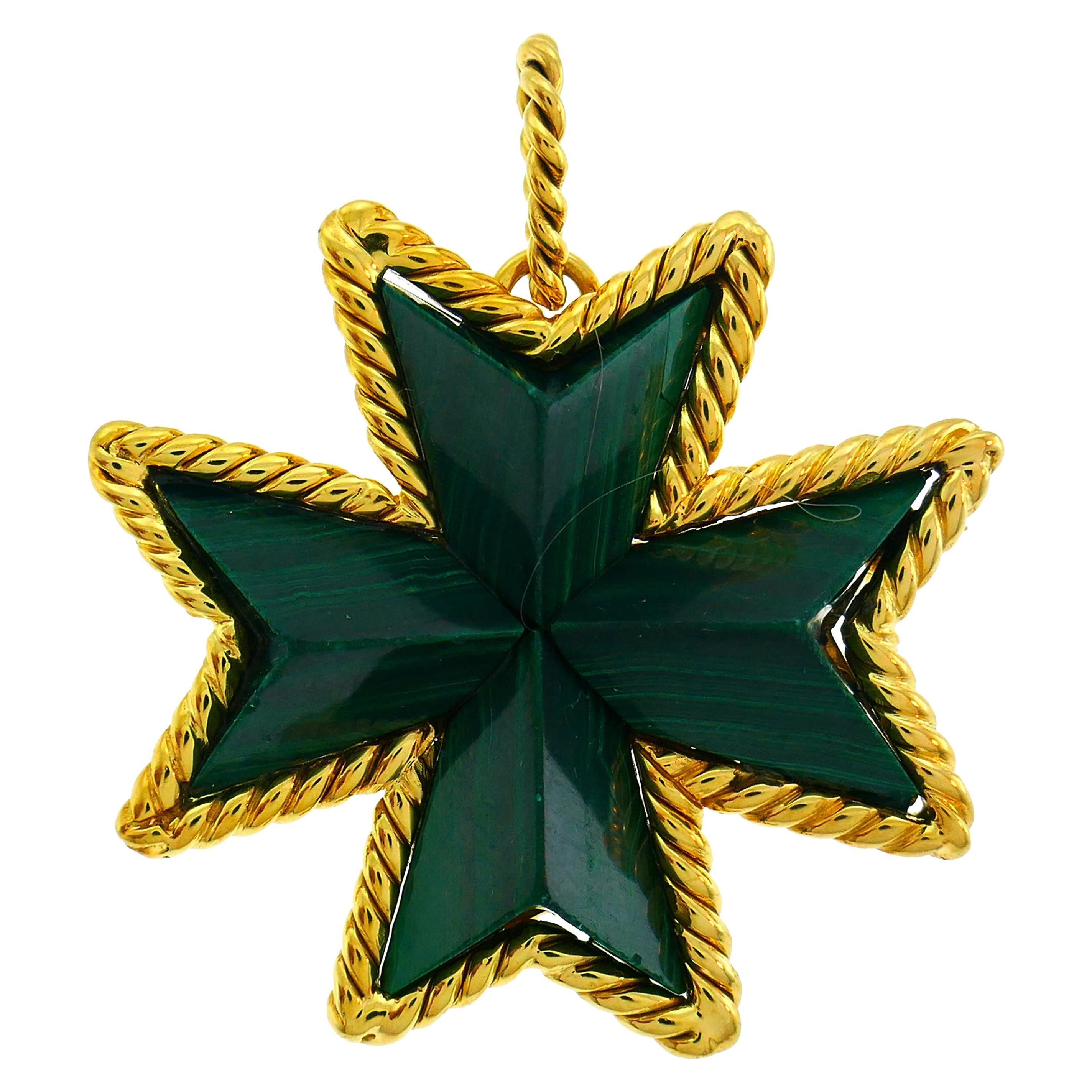 Tiffany & Co. Malachite Yellow Gold Pin Pendant Maltese Cross Brooch Clip