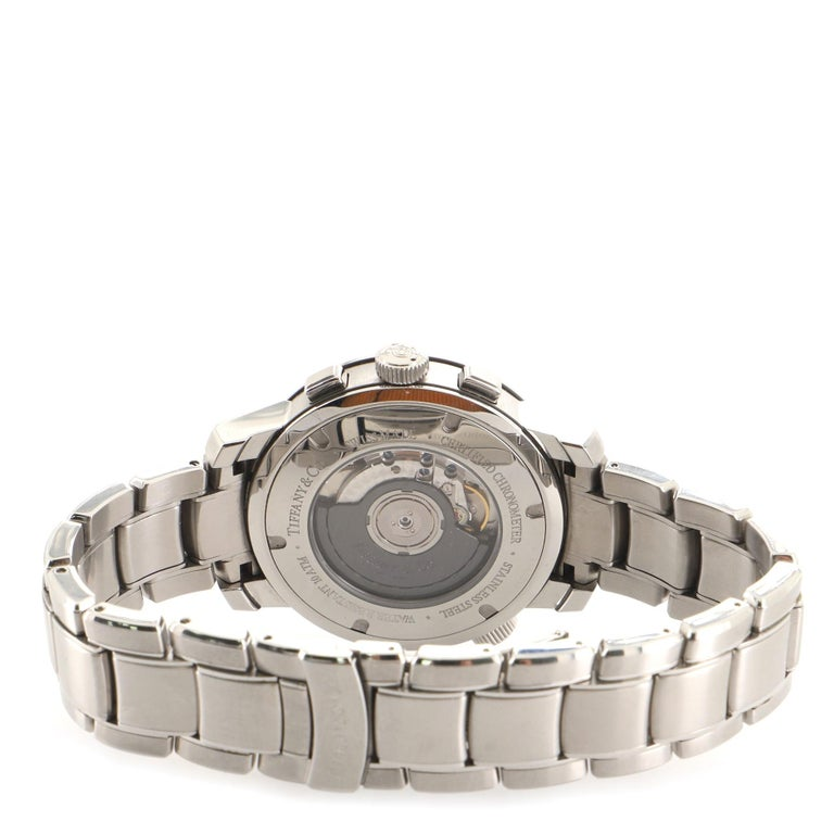 Women's or Men's Tiffany & Co. Mark T-57 Chronograph Automatic Watch Stainless Steel 42 For Sale