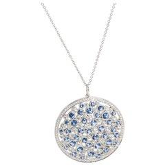 Tiffany & Co. Medallion Cobblestone Diamond Sapphire Necklace in Platinum 0.94