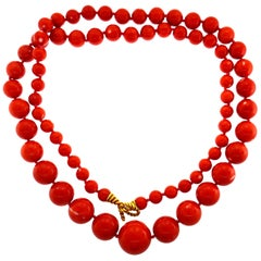 Tiffany & Co. Mediterranean Coral Gold Bead Necklace