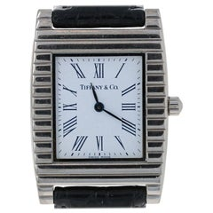 Tiffany & Co. Men's Watch, 18 Karat White Gold Black Band Quartz 2Yr Wnty