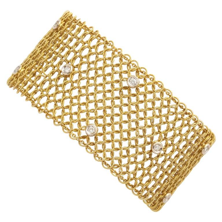 Tiffany & Co. Mesh Diamond Gold Bracelet For Sale