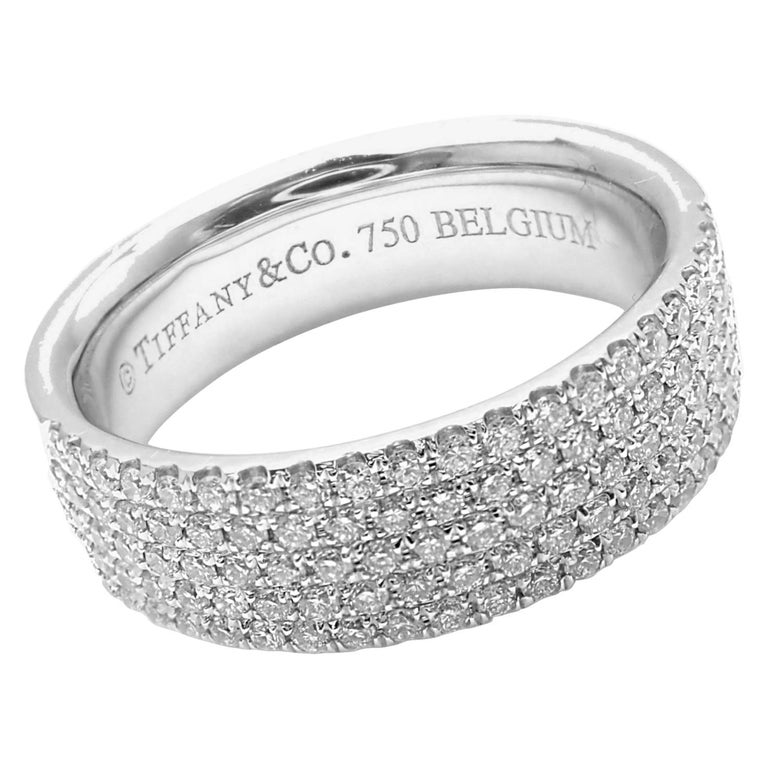 03aa5b339 Tiffany and Co. Metro Diamond Five-Row White Gold Band Ring For Sale ...