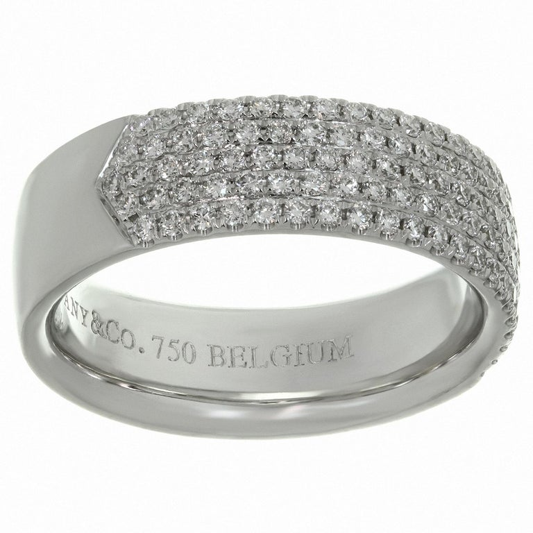 Tiffany And Co Metro Diamond White Gold Band Ring For Sale At 1stdibs