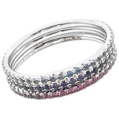 Tiffany & Co. Metro Sapphire Aquamarine Iolite Three Bands Stacking Gold Rings